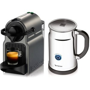 $94.99 Nespresso Inissia Espresso Maker with Aeroccino Plus Milk Frother, Titan