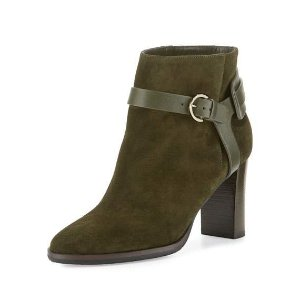 Jimmy Choo Hose Suede 80mm Bootie, Army Green