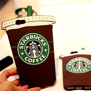 MC Fashion 3D Starbucks Coffee Cup Super Cute Silicone Case Cover for Apple iPhone 6/6S (Coffee Cup)s