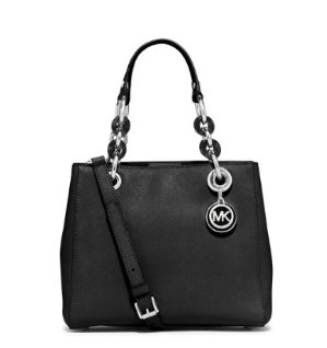 MICHAEL Michael Kors Cynthia Small North-South Satchel Bag, Black @ Neiman Marcus