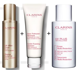 $111Gentle Foaming Cleanser with Cottonseed+Contouring Serum+Sunscreen @ Clarins