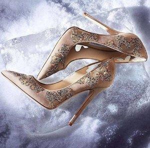 Jimmy Choo Karmel 85 Crystal-Embellished Suede & Mesh Pumps