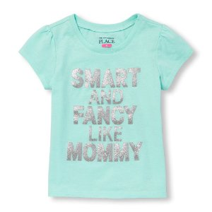 Toddler Girls Short Sleeve Glitter 'Smart And Fancy Like Mommy' Graphic Tee | The Children's Place