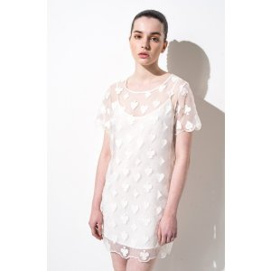FRS White Embroider Lace Mini Dress