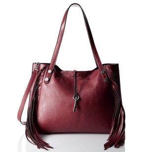 $59.99 Calvin Klein Novelty Fringe Reversible Valent/Blk Tote Bag