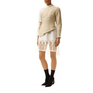 Burberry Runway Cable Knit One-Shoulder Jumper Biscuit