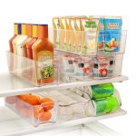 Greenco 6 Piece Refrigerator and Freezer Stackable Storage Organizer Bins