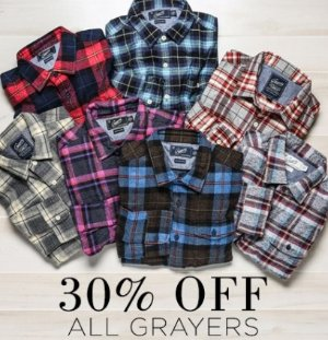 30% OffGrayers Shirts @ South Moon Under