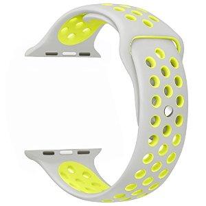 Amazon.com: OULUOQI 42mm Soft Silicone Replacement Band with Ventilation Holes for Apple Watch Nike+, Series 2, Series 1, Sport, Edition, M/L Size ( Silver / Volt Yellow ): Cell Phones & Accessories