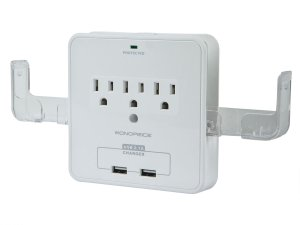 $6.37 3 Outlet Power Surge Protector Wall Tap w/ 2 USB Ports and Phone Holder - 540 Joules