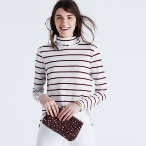 Whisper Cotton Turtleneck in Wellton Stripe : AllProducts | Madewell