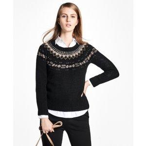 Wool Fair Isle Crewneck Sweater - Brooks Brothers
