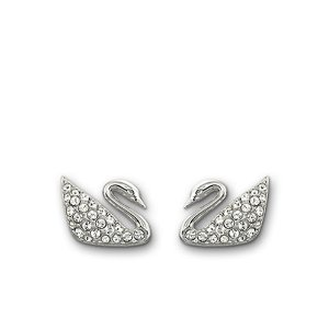 Silvertone Crystallized Swan Earrings