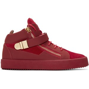 Giuseppe Zanotti: Red Suede London High-Top Sneakers