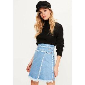 Blue Wrap Around Freyed Denim Skirt