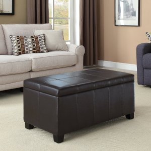 Simpli Home Dover Rectangular Storage Ottoman, Espresso Brown