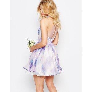 Chi Chi Petite   Chi-Chi London Petite High Neck Organza Mini Prom Dress In Water Floral Print