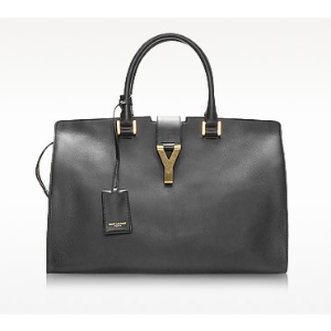 Saint Laurent Cabas Y Black Leather Tote at FORZIERI