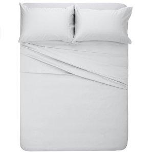 Pinzon 400-Thread-Count Hemstitch Egyptian Cotton Sheet Set - Queen, Light Grey