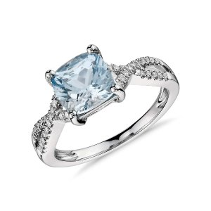 Aquamarine and Diamond Infinity Twist Ring in 14k White Gold (7x7mm) | Blue Nile