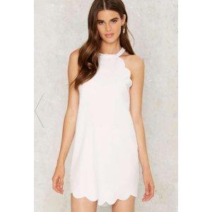 Above The Curve Halter Dress - White