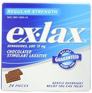 $2.87 Ex-lax  Regular Strength Chocolated, 24 Count Box