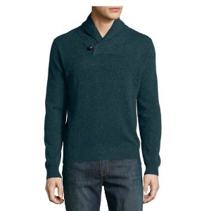 Neiman Marcus Cashmere Shawl-Collar Pullover Sweater