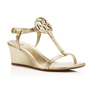 Tory Burch Miller T Strap Logo Wedge Sandals | Bloomingdale's