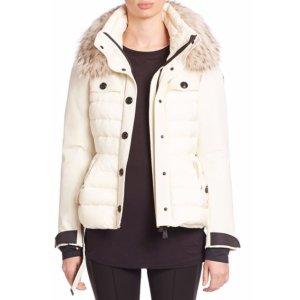 Moncler Pertuis Fur-Trim Belted Puffer Jacket