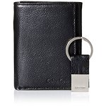 Calvin Klein Men's Pebble Leather Slim Trifold Wallet and Key Fob Set, Black, One Size