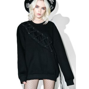 Binding Feelz Lace-up Sweater | Dolls Kill