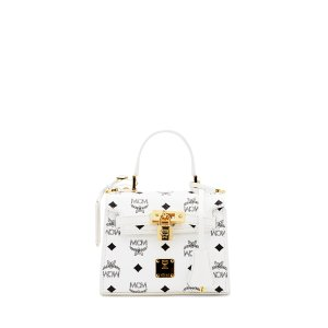 Mini HERITAGE LINE SATCHEL in White by MCM