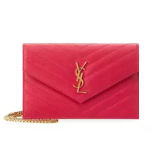 Saint Laurent Monogram Small Matelass� Envelope Chain Wallet, Fuchsia