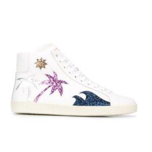 Saint Laurent Sea, Sex & Sun Embellished Leather Sneakers | Kirna Zabete