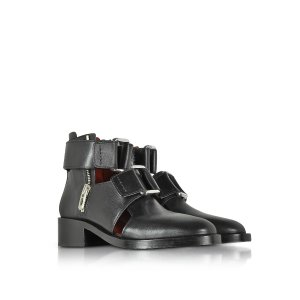 3.1 Phillip Lim Black Leather Addis Cut Out Boot 6 (6 US | 3.5 UK | 36 EU) at FORZIERI