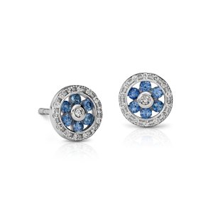 Sapphire and Diamond Floral Stud Earrings in 14k White Gold (1.5mm) | Blue Nile