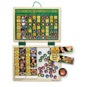 Amazon.com: Melissa & Doug Deluxe Wooden Magnetic Responsibility Chart With 90 Magnets: Melissa & Doug: Toys & Games