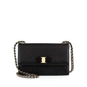 Salvatore Ferragamo Ginny Leather Bow Shoulder Bag, Nero