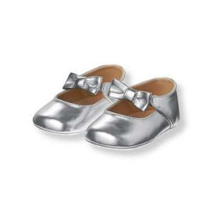 Baby Girl Silver Metallic Crib Shoe at JanieandJack