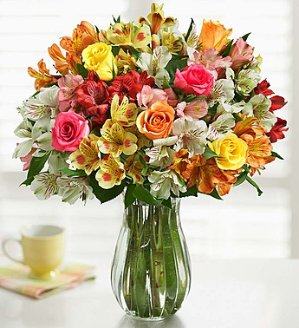 Assorted Rose & Peruvian Lily + Free Vase
