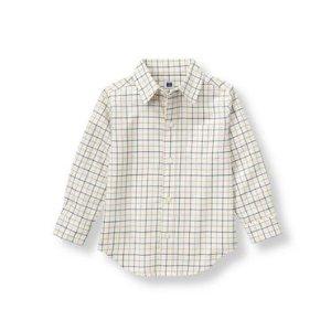 Baby Boy Navy Check Checked Twill Shirt at JanieandJack