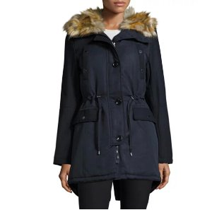 117.00 French Connection Hooded Jacket with Faux-Fur-Trim, Blue