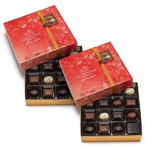 Holiday Chocolate Gift Box, Set of 2, 30 pc. each   GODIVA