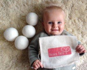 $9.99 Heart Felt Wool Dryer Balls (4 Pack) Felted Laundry Drying Balls