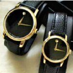 Movado Museum Black Dial Black Leather Men's and Women's Watches