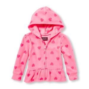 Toddler Girls Long Sleeve Heart Print Glacier Fleece Ruffle Peplum Jacket   The Children's Place