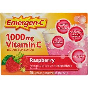 Emergen-C Vitamin C Fizzy Drink Mix Raspberry -- 1000 mg - 30 Packets