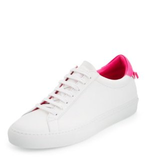 $495 Givenchy Devon Leather Low-Top Sneaker, White/Pink @ Bergdorf Goodman