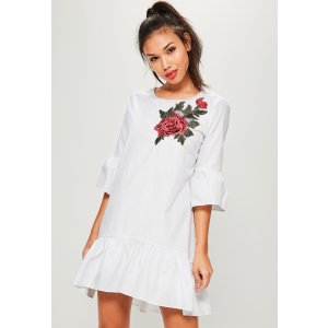 White Embroidered Patch Frill Smock Dress