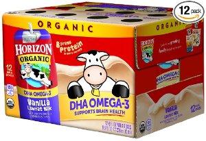 $11.99 + Free ShippingHorizon Organic Low Fat Organic Milk Box Plus DHA Omega-3, Vanilla, 8 Ounce (Pack of 12)